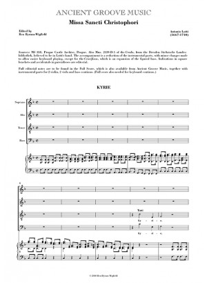Lotti: Missa Sancti Christophori VOCAL SCORE