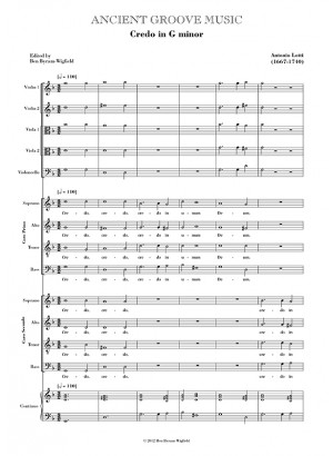 Lotti: Credo in G minor FULL SCORE